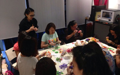 Felt Carnation workshop at our shop